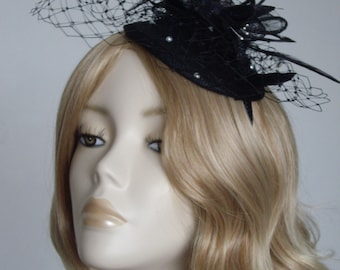 BLACK FASCINATOR,  Sinamay base and flower, With Pearl net, on a headband