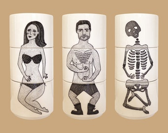 Exquisite Cups, Folk - Set of 3 stacking cups, featuring 3 gorgeous illustrations of people. Inspired by surrealist game 'Exquisite Corpse'