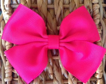 Shocking Pink Hair Bow Clip