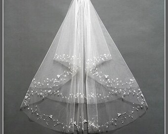Beautiful Bridal veil  white beaded veil high quality  veil short veil 2 layers bead ivory veil  with comb veil with sequins001