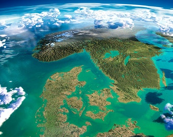 Earth - Denmark, Norway and Sweden - planet earth, satellite view - SKU 0095