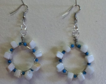 Tropical Hawaiian Breeze ....... Natural Blue Turquoise and White Shell Hoop Earrings