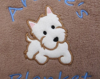 Personalised Dog / Puppy Blanket - Soft & Cosy Fleece - Terrier Dog