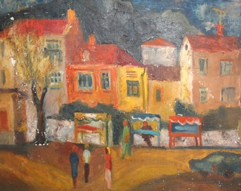 Vintage oil painting expressionist cityscape