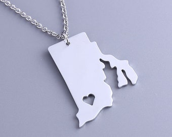 I heart Rhode Island Necklace - Rhode Island Pendant - State Charm - Map necklace - Map Jewelry