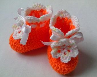 Crochet Baby Booties gift flower orange