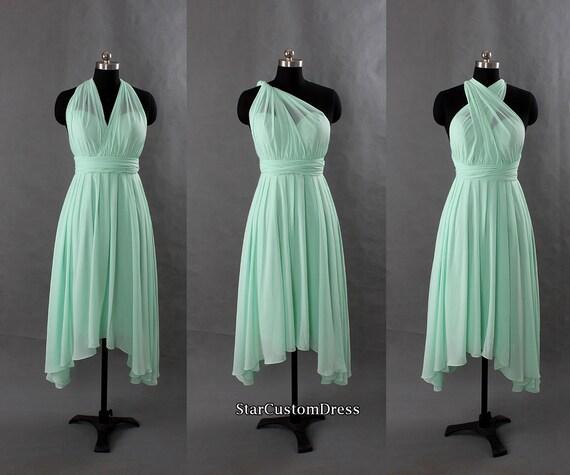 Chiffon Infinity Dress: Mint Bridesmaid Dress Short Chiffon Dress One By