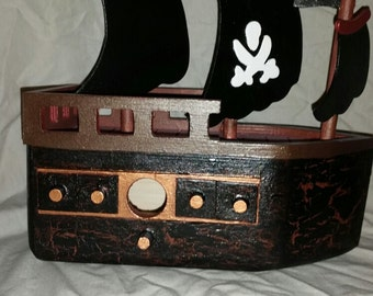 Hand painted Wood Pirate Ship
