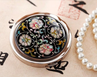 Mother of Pearl Cosmetic mirror Magnifier Handbags cosmetic mirror Colour makeup mirror handmade mirror with Flower
