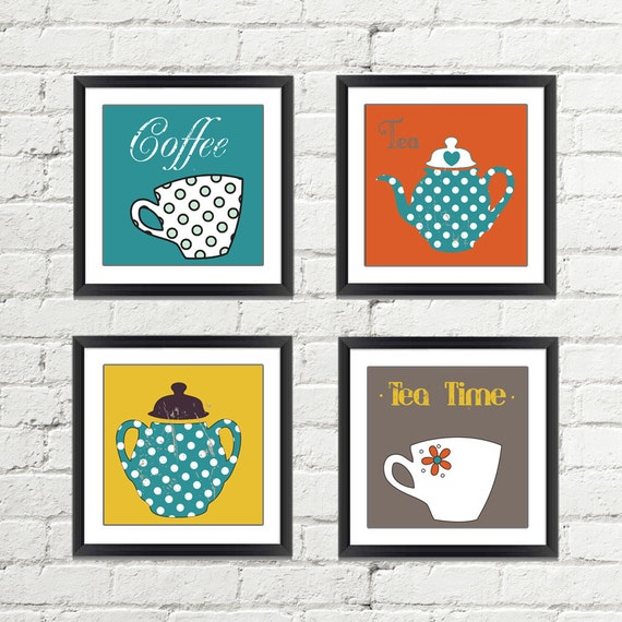 Kitchen wall decor kitchen wall art kitchen print set for Art prints for kitchen wall