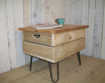 British made Retro Industrial chic fruit crate coffee table with hairpin legs and waxed pine top