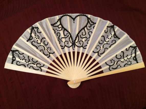 Items Similar To Black Crystal Heart Lace Hand Fan Swarovski Black And White Wedding Mardi Gras