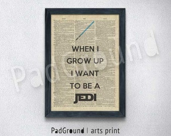 Star Wars Print, Jedi, Lightsaber, Movie Poster, Dictionary Art, Home Decor, Wall Decor, Kids Decor, Gifts, Burlap Print with Frame - STW25
