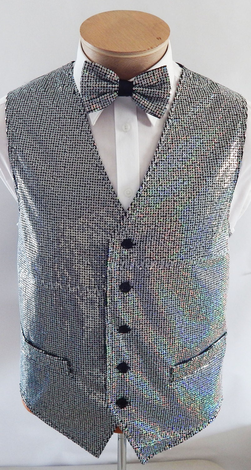 Mens Silver Sequin Vest And Bow Tie Set By Vesterrific On Etsy