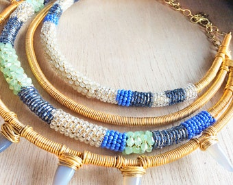 Spike Layered Gold Collar Necklace, Tribal Spike Collar Necklace, ANDROMEDA Blue and Green Beaded Collar Necklace
