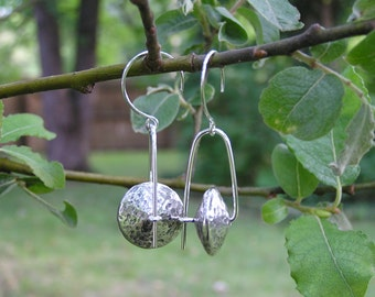 Hammered Silver Saucer Trapeze Earrings