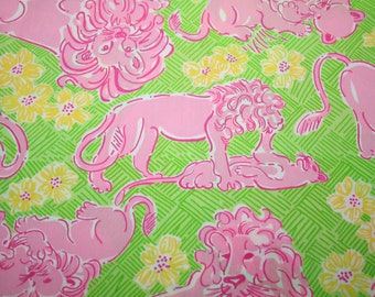 "Lilly Pulitzer~ fabric~ "" LOUNGIN LIONI""~ 100%  cotton~ 11  1/2"" x 18"""