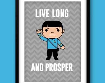 Star Trek inspired wall art, kids wall art, Star Trek, Spock print, Star Trek nursery, Star Trek wall art, Live Long and Prosper