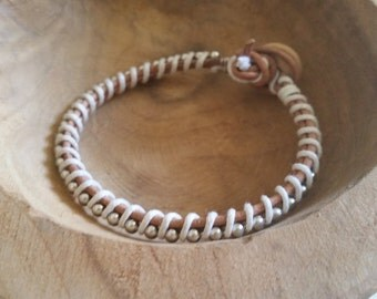 SALE Leather bracelet with silver accent