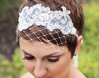Bridal lace headband tie with Merry Widow netting, alencon lace bridal birdcage netting, bridal head piece