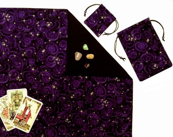 Purple Celestial Stars Tarot Cloth & Tarot Bag Divination Gift Set 3-Piece Runes Cloth Bag