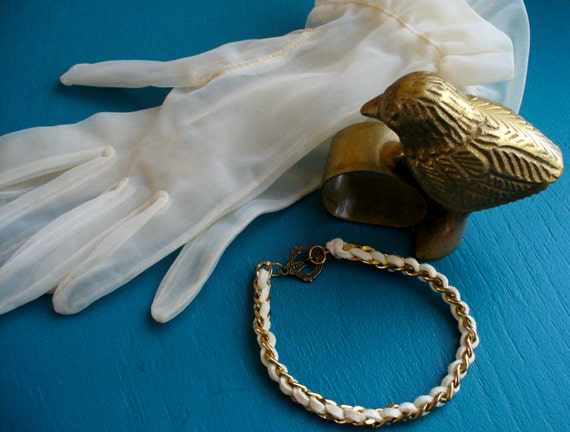 Vintage Gold Plated Steel Chain Bracelet, Corded Chain Bracelet, Toggle Bracelet, Original Design, Repurposed Bracelet, Gold Bracelet. Chain