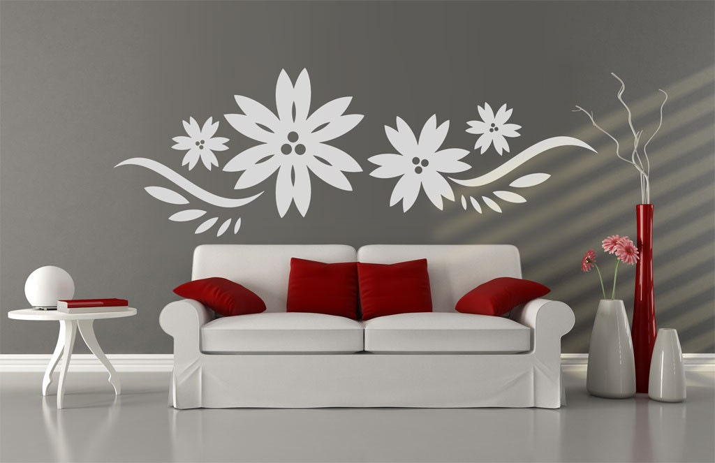 Large white flower design wall decal White flower wall decal