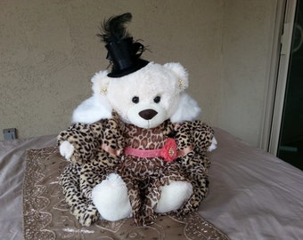 White Bear With Leapord Dress and Coat and Black Hat