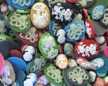Spooky Goth Cameo Cabochon Grab Bag, Assorted Sizes and Colors, Pick your amount