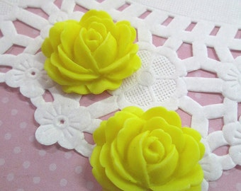 Yellow Cabbage Rose Flower Cabochons, 26x22mm Flower Cabs