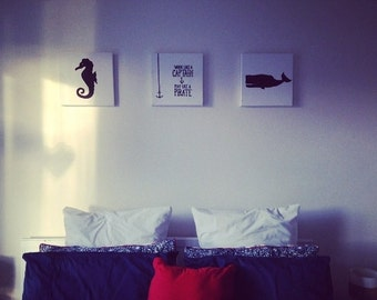 Hand drawn nautical theme canvases