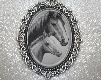 Thoroughbred HORSE and Colt- Oval Glass Filigree Pendant Necklace- Black and White Pencil Sketched Look