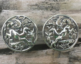 Stamped SC, Sarah Coventry, Vintage, Clip On, Earrings, Silver tone, Woodland Flight Series, Deer, Log, Forest