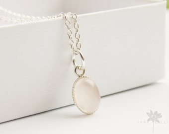 Small pink rose quartz oval gemstone pendant charm sterling silver chain necklace