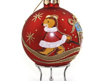 Red Handpainted Glass Christmas Bear with Cart Bauble