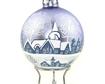 Sky Blue Handpainted Glass Christmas Winter Church Bauble