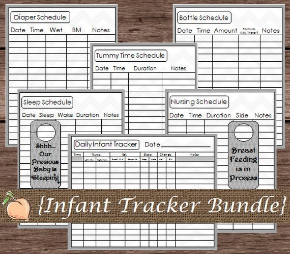 Daily Infant Schedule Tracker Log Baby by PlayfulPrintShop