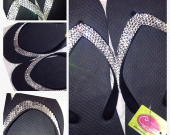 Swarovski Clear Crystals embellished on Brazilian Cariris flip flops- GORGEOUS SANDALS for any occasion or daily wear!
