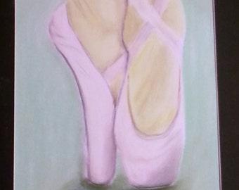 original pastel drawing pink ballet slippers 8x13