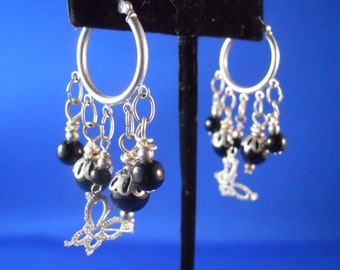 Sterling Silver Hoops with Black Onyx and Tatted Butterflies