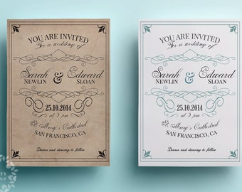 Vintage wedding invitation template, retro wedding invitation design, printable wedding invitation, custom save the date template, white