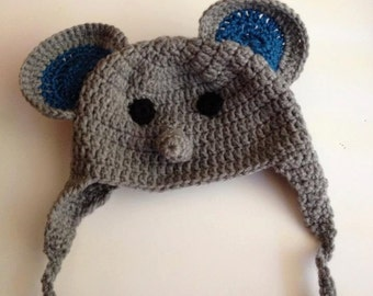 Elephant baby hat in gray and blue for babies 6 to 18 months old