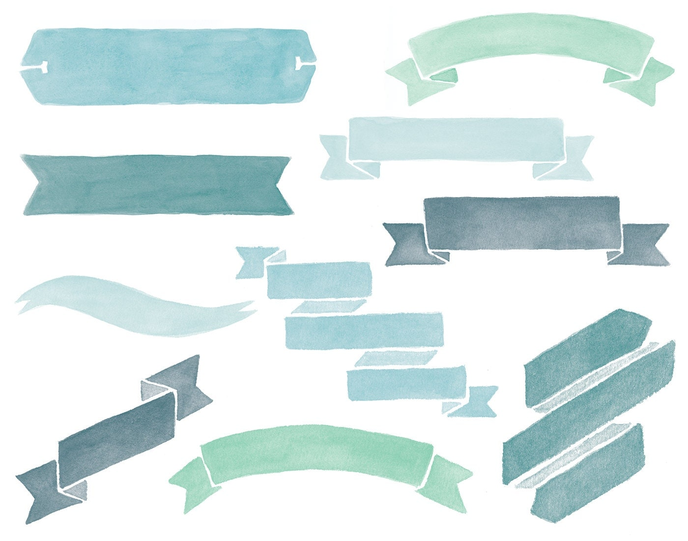 Watercolor Banners Clipart Overlays 50 Transparent High