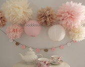 Shabby Wedding Decor, Tissue Poms and Lanterns,Shabby Birthday Decor,Chic Wedding,Blush Wedding,Cottage Chic,Reception