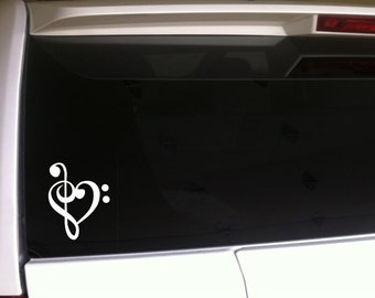 """I Love Music Note Car Decal Vinyl Sticker 6"""" Band Piano Musician"""