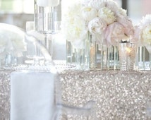 """SHIPS ASAP Silver Sequin 120"""" Round Sparkly Silver Sequin TableCloth Glitz Sequined Linen Glittery 6 Ft Table Wholesale Event Sparkle"""