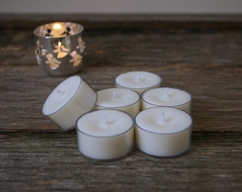 50pk Unscented Soy Tealights - Vegan - Hand Poured