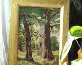 Satin stitch embroidery of nature