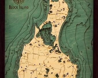 Wood Chart of Block Island, Rhode Island,  16x20 - Small
