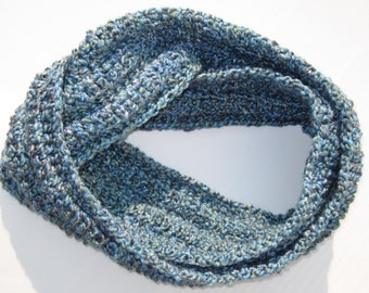 Dreamy Blue Crocheted Infinity Scarf